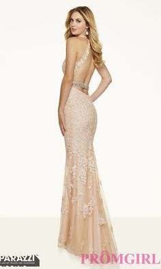 Prom Dresses, Celebrity Dresses, Sexy Evening Gowns: Long Lace V-Neck Open Back Mori Lee Prom Dress