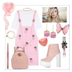 """""""School"""" by bitty-junkkitty ❤ liked on Polyvore featuring WithChic, Betsey Johnson, Too Faced Cosmetics, Yves Saint Laurent, ULTA and Gucci"""