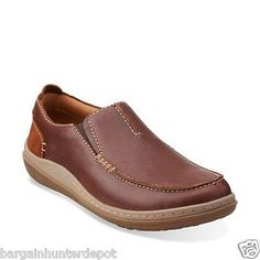 New Clarks Mens Gait Easy Slip On Loafers Casual Shoes Tan Leather 26112866