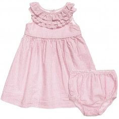e6896461f14c Ralph Lauren Baby Girls Pink Cotton Dress with Knickers at Childrensalon.com