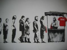banksy-graffiti-street-art-capitalims-for-sale - 19 Inspiring Banksy Artworks that are Famous Banksy Graffiti, Banksy Work, Bansky, Street Art Graffiti, Anti Consumerism, Best Street Art, Street Work, Political Art, Political Posters