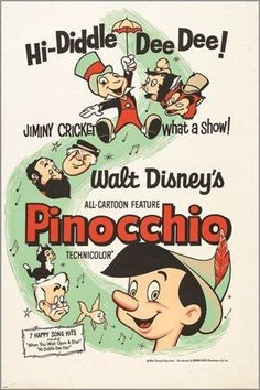 1962 PINNOCCHIO classic kids movie poster WALT DISNEY 24X36 jiminy cricket