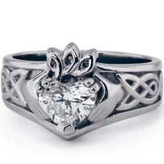 Custom Designed Claddaugh with Heart Shaped Diamond Center | brilliantearth.com
