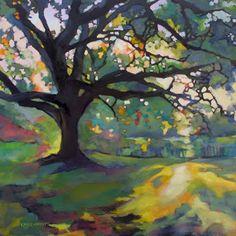 Just Landscape Animal Floral Garden Still Life Paintings by Louisiana Artist Karen Mathison Schmidt: Impressionist Oil Painting Oak Tree ArtVintage Style Louisiana LandscapeIn the Morning II