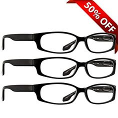 Reading Glasses - 3 Pack - Always Have Crystal ClearVision Everywhere You Need It! Stylish Look with Sure-Flex Comfort Spring Arms & Dura-Tight Screws - 180 Day Guarantee + 1.75 TruVision Readers