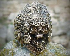 Into The Fire Jewelry - Skull ring Horned Beast silver mens skull biker masonic rock n roll gothic handmade jewelry etsy Aztec Rings, Aztec Jewelry, Geek Jewelry, Gothic Jewelry, Bullet Jewelry, Jewlery, Man Jewelry, Looks Vintage, Heavy Metal