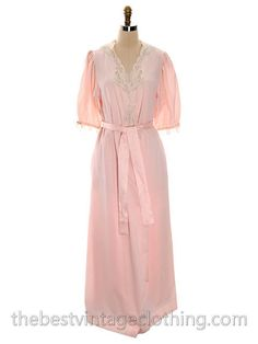 Vintage Christian Dior 2PC Peignoir Pink Lace Puffed Sleeves 1980s S