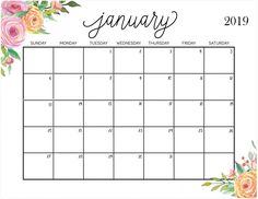 Printable 2019 January Calendar Cute Sanjiv Gupta (sanjivgupta11394) on Pinterest