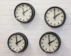 Bakelite Czech Office Clocks By Pragotron Circa 1950's
