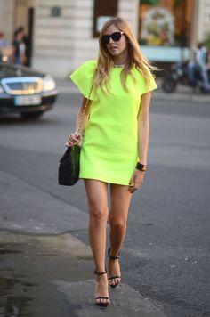 neon t-shirt dress.