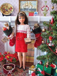 "Skipper wearing ""Velvet 'n Lace"" outfit with a Christmas diorama. by michele Barbie Dream, Play Barbie, Barbie Skipper, Barbie Diorama, Madame Alexander, Christmas Barbie, Merry Christmas, Christmas Morning, Christmas Stocking"