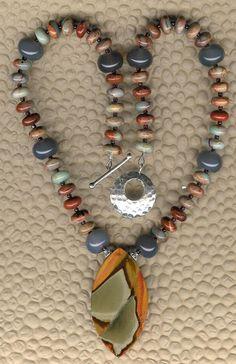 Spelunker - Succor Creek Jasper Opal Jasper Grey Agate Garnet Sterling Silver Chunky Necklace OOAK Statement Southwestern Style