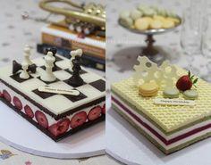 Pistachio w / White Chocolate & Mascarpone Mousse Cake and White Chocolate Yogurt Mousse Cake