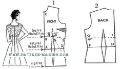 draft dress pattern fitted midriff - Google Search