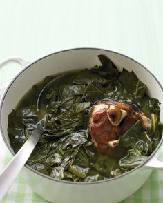 """Braised Collard Greens""  - the typical pot  of green in the South .....don't forget to throw in a couple of whole hot  peppers into the pot ...Tabasco or Datil work beautifully ....."