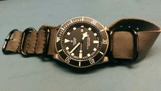 Tudor on leather Tudor Pelagos, Nato Strap, Cool Watches, Omega Watch, Diving, Google, Leather, Accessories, Ice