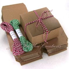 "Gift Box Packaging Set - 20 Kraft Boxes (4""x4""x2"") & 40 Yards of Baker's Twine - You Choose Color. $13.45, via Etsy."