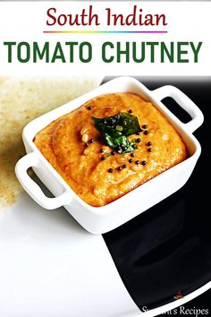 Spice up your meal with this traditional South Indian tomato chutney. It is a traditional condiment with bursting flavors & deliciousness. Tomato chutney is eaten with Indian breakfasts, snacks & as a side in a meal. Healthy Recipes, Veg Recipes, Spicy Recipes, Curry Recipes, Vegetarian Recipes, Cooking Recipes, Paneer Recipes, Crockpot Recipes, South Indian Tomato Chutney