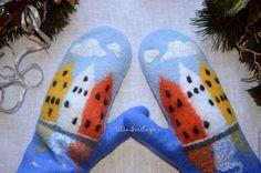 Designer Julia Bright, plstené rukavice, rukavice s domami, kúpiť rukavice, Nórsko, Bergen, staré mesto, staré mesto, krásne palčiaky, prístav, fjordy