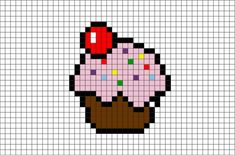 Cupcake Pixel Art - Explore the best and the special ideas about Cool Minecraft Houses Easy Pixel Art, Pixel Art Grid, Tiny Cross Stitch, Cross Stitch Patterns, Pixel Art Mignon, Pixel Pokemon, Image Pixel Art, Modele Pixel Art, Pixel Drawing