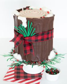 You won't believe how EASY this Christmas log cake is to make! Frost your cake, put on your bark, add some snow, and you are on your way! Dress this tree stump cake up year round to match your party theme. You'll love our spin on a yule log cake for sure! #yulelogcake #Christmaslogcake #logcake #Christmascake #treestumpcake