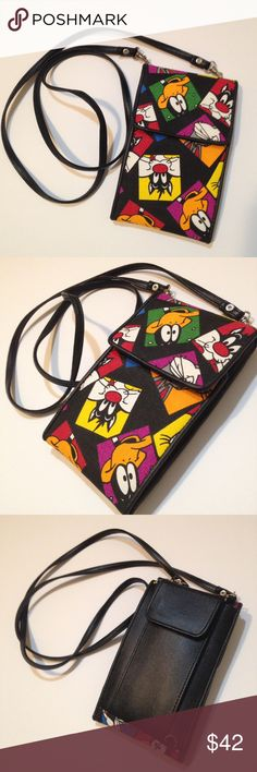 Vintage 90's Looney Tunes Wallet Crossbody This vintage 90's looney tunes crossbody wallet is one of a kind, can be used vertically, horizontally or without straps, in pristine condition. I accept reasonable offers. ☺️ Vintage Bags Crossbody Bags