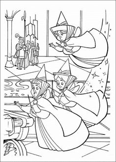 help the fairies to princess aurora coloring pages