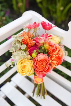 Fun & Colorful Lilly Pulitzer Wedding Ideas   Krystal Zaskey Photography    Coral and Yellow Bouquet