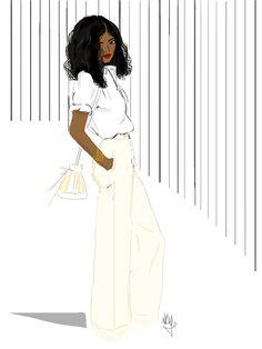 French illustrator Nicholle Kobi celebrates brown beauty one sketch at a time. Black Love Art, Black Girl Art, Black Is Beautiful, Black Girl Magic, Art Afro, African American Art, American Women, Black Artwork, Black Image