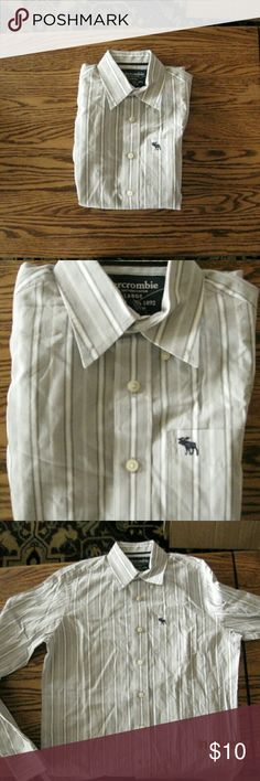 Abercrombie Gray Stripe Button Up Abercrombie gray and white vertical stripes are all over this button up. There is a pocket on the front with a small little moose emblem. There are 6 buttons on the front and the cuffs have buttons on them as well. There is a small stain on the front and a couple minor marks. Abercrombie & Fitch Shirts Dress Shirts