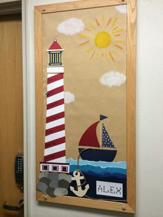 This would be a good idea for a where am I board - Lilly is Love Nautical Bulletin Boards, Summer Bulletin Boards, Church Bulletin Boards, Classroom Door, Classroom Displays, Classroom Themes, Classroom Behavior, Classroom Setting, Ocean Themes