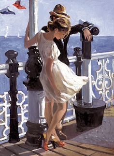 Sherree Valentine-Daines, 1956 ~ Impressionist painter - Pam Miller - It is The Time Club Jack Vettriano, Illustration Art, Illustrations, Contemporary Abstract Art, Impressionist Art, Beautiful Paintings, Romantic Paintings, Oeuvre D'art, Love Art