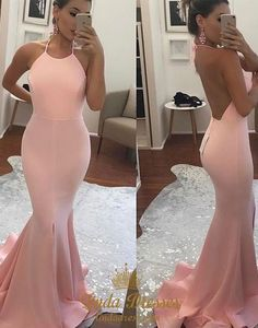 lindadress.com Offers High Quality Simple Pink Spaghetti Strap Backless Floor Length Mermaid Evening Gown,Priced At Only USD $128.00 (Free Shipping)