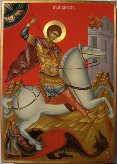 Christian Martyr Painting - Saint George by Daniel Neculae Byzantine Icons, Byzantine Art, Religious Icons, Religious Art, St Georg, Saints, Church Icon, Saint George And The Dragon, Religious Paintings