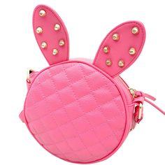 Women Handbag Cute Girl Rabbit Ear Round Leather Handbag Vintage Rivet Shoulder Messenger Bag