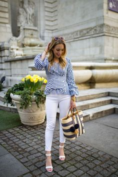 Say hello to spring in a stripe top with bell sleeves & a peplum hem