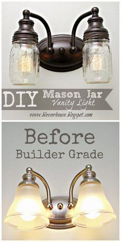 DIY Mason Jar Vanity Light - Easy and cheap!