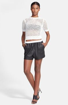 T by Alexander Wang Knit Pullover & Leather Shorts available at #Nordstrom