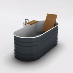 Backrest and side table for a stock tank tub setup