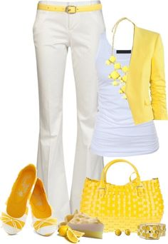 For women who loves to wear white pants, try white and yellow combination this summer!