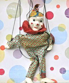 Vintage Marionette Clown Puppet.  via Etsy.