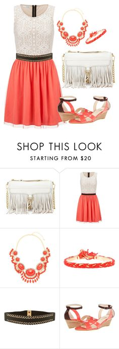 """""""Coral and white, dress with fringe bag"""" by ericajayne24 ❤ liked on Polyvore featuring Rebecca Minkoff, maurices, Leslie Danzis, Aurélie Bidermann, Another Line, Christin Michaels and fringebag"""