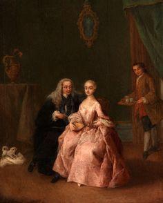 LA VISITA ALLA DAMA - BESUCH BEI EINER DAME Öl auf Leinwand. 55 x 46 cm. Gerahmt. Pietro Longhi war bekannt für seine detaillierten Darstellungen...