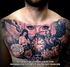 Angel and devil theme tattoo on full chest. (Design from the studio) For appointment or design tattoo please contact >> www.facebook.com/wonderland.tattoo.phuket >> Email:wonderlandtattoo86@gmail.com >> IG:wonderlandtattoo_phuket #Thailand #Thailandtattoo #Phuket #Phukettattoo #Patong #Patongtattoo #Tattoo #Tattoos #Blackandgrey #Blackandgreytattoo #chest