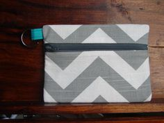Keychain Wallet in Grey and White Chevrons with Grey by stitch248, $12.00