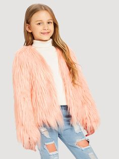 To find out about the Girls Open Front Faux Fur Jacket at SHEIN, part of our latest Girls Jackets & Coats ready to shop online today! Kids Outfits Girls, Cute Outfits For Kids, Trendy Outfits, Girl Outfits, Summer Outfits, Fashion Outfits, Fashion News, Girl Fashion, Preteen Girls Fashion