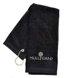 Crystal Mulligan? Black Terry Cloth Golf Towel by Navika.  Buy it @ ReadyGolf.com