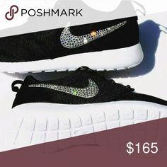 Nike roshe black and white with swarovski crystals Brand new black and white women's nike roshe trainers with Swarovski crystals. Durable for every day wear. Custom made. Nike Shoes Sneakers