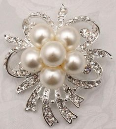 Fabulous Pearl Rhinestone Sparkling Bow Brooch Pin  silver plated Embellishment  Broach  Wedding Bridal Bouquet Sash on Etsy, $8.50