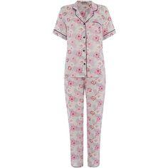 Cyberjammies Floral pj set ($65) ❤ liked on Polyvore featuring intimates, sleepwear, pajamas, grey and women